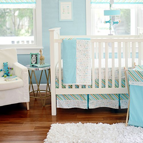 My Baby Sam Follow Your Arrow 3 Piece Crib Bedding Set, Aqua