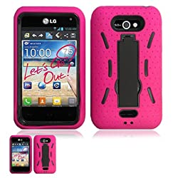 LG Motion 4G MS770 Pink And Black Hardcore Kickstand Case