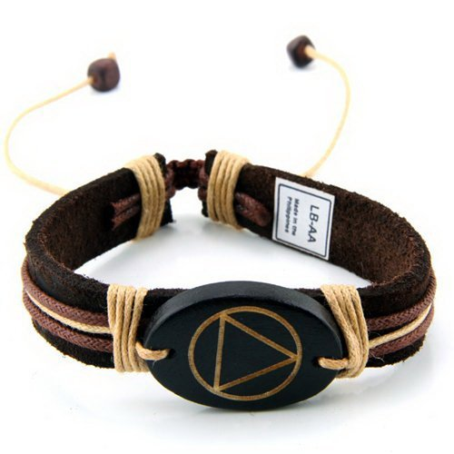 Adjustable Genuine Leather Bracelet - Circle-Triangle