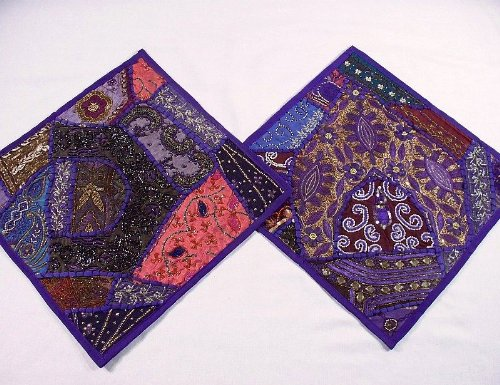 2 Purple Traditional Rajasthani Home Decorating Pillows