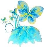 Blue & Green Neon Fairy Butterfly Costume Tutu Set (4 pc)