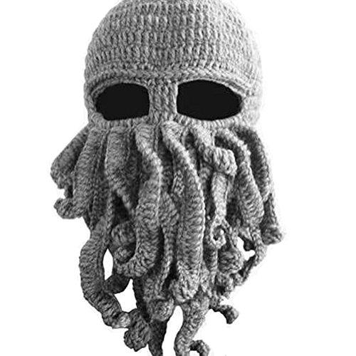 DAYAN Winter Hats Maschera caldo polpo cappello di lana Handmade Knitting Wool Octopus Colore grigio