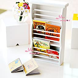 1:12 Dollhouse Newspaper Rack Magazine Rack Display Cabinet W/ Removeable books