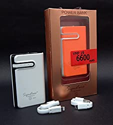 Signature VMP 19 6600mah Power Bank 2 USB Port , 2.1 Charging Capacity and Torch for iPhone 6s Plus 6 5s 5 4S, iPAD Mini, Samsung Galaxy S6 S5 S4 Note, Nexus, Smartphones and Tablets(Colour as per available)
