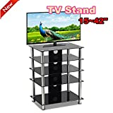 Popamazing(r) Black Tempered Glass 5 Shelves TV Stand Unit for 15
