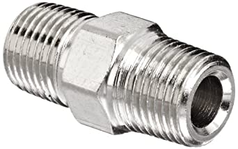 "Polyconn PC122NB-2 Nickel Plated Brass Pipe Fitting, Hex Nipple, 1/8"" NPT Male (Pack of 10)"