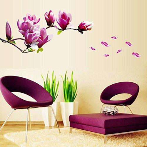 soxid (TM) Bella Magnolia Fiori Rimovibile Wall Art Decals Vinyl Stickers Wallpaper Mural Home Room Decorazione Adesivo De Parede