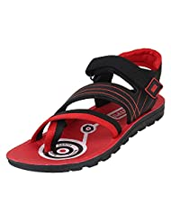 Earton Men's Red & Black Sandals & Floaters