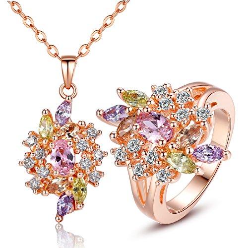 Bamoer Women 18K Rose Gold Plated Brass Necklace Rings Set Ice Flower Cubic Zirconium Jewelry (7)