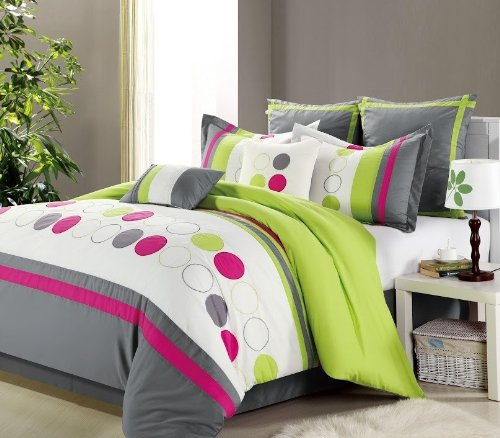 12Pc Bed In A Bag Sporty Lime Green/ White Gray -King-Sage front-918099