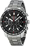 Seiko Men's SSB031 Silver Stainless-Steel Quartz Watch with Black Dial