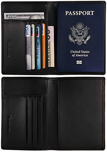 Travelambo-RFID-Blocking-Genuine-Leather-Passport-Holder-Wallet-Cover-Case-for-Travel-Men-and-Women-in-Color-Black