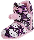 Hello Kitty Juniors Superplush Bootie with Pom Pom and Sherpa Zebra, Purple, Medium