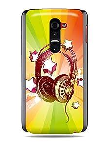 """buy Grüv Premium Case - """"Colorful Music Dj Headphones & Stars"""" Design - Best Quality Designer Print On Black Hard Cover - For Lg G2 Optimus D800 D801 D802 D803"""