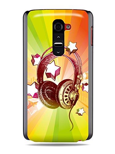 """Grüv Premium Case - """"Colorful Music Dj Headphones & Stars"""" Design - Best Quality Designer Print On Black Hard Cover - For G2 Optimus Vs980 D800 D801 D802"""