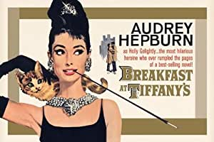Breakfast at Tiffany's Maxi Poster 91.5cm x 61cm Vintage Imagery Of The Iconic Film Enhanced By Chic Black and Gold Tones