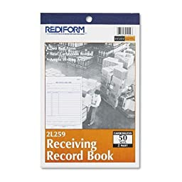 Rediform 2L259 Receiving Record Book, 5 1/2 x 7 7/8, Two-Part Carbonless, 50 Sets/Book
