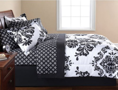 White Damask Bedding 885 front