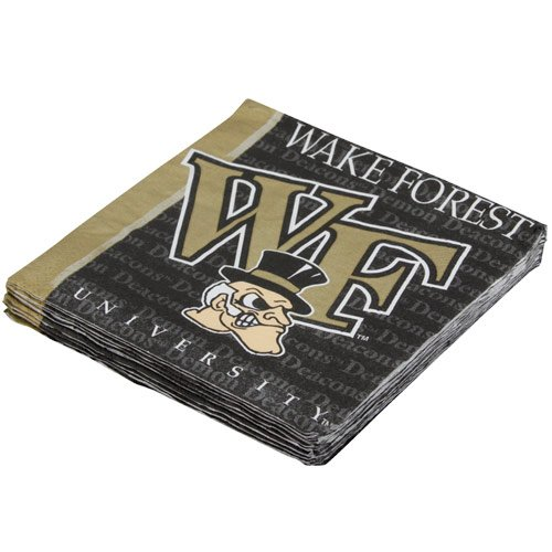 NCAA Wake Forest Demon Deacons 16-Pack Beverage Napkins - 1