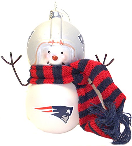 NFL Officially Licensed Blown Glass Snowman Ornaments ( England Patriots) at Steeler Mania
