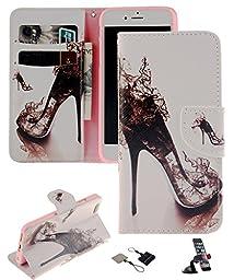 Nokia Lumia 930 Wallet Case , Castle Cas [High Heeled Shoes] Duplex Design Flip Card Slot Slim Fit Magnetic Premium Leather TPU Cover Case With Car Mount Phone Holder - White