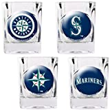 MLB Seattle Mariners Four Piece Square Shot Glass Set (Individual Logos) Amazon.com