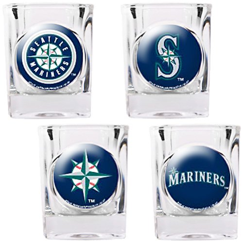 MLB Seattle Mariners Four Piece Square Shot Glass Set (Individual Logos) at Amazon.com