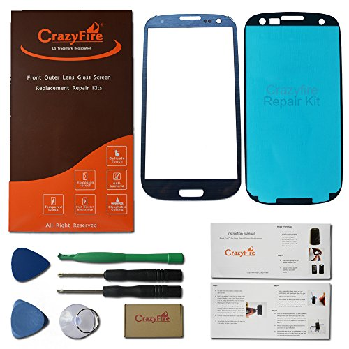 Us Stock Crazyfire® Free Shipping Pebble Blue New Front Outer Lens Glass Screen Replacement For Samsung Galaxy S3 Siii I9300 I747 L710 T999 I535+Adhesive+Tools+Instruction Manual+Crazyfire Box