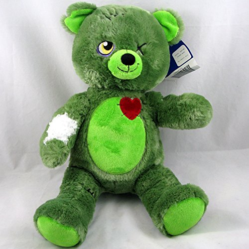 Build a Bear Zombear Teddy Green Halloween 16 in. Stuffed Plush Toy Animal