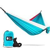 """Bear Butt #1 Double Parachute Camping HammockSTART UP COMPANY """"Shaking The Eagle Out Of The Nest Since 2015"""" (Sky Blue / Pink / White)"""