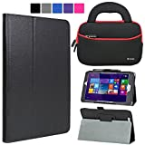 Evecase Acer ICONIA Tab 8 W W1-810 Case, SlimBook Leather Folio Stand Case Cover w/ Handle Sleeve Bag for Acer Iconia Tab 8 W W1-810-1193 8.0-Inch HD Tablet (Windows 8.1) - Black