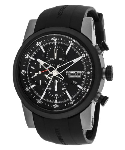 Momo Design Men's Automatic Chronograph Black Dial Black Rubber