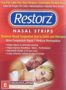 Restorz Nasal Strips 6 Medium/Large Tan Strips (Pack of 4)
