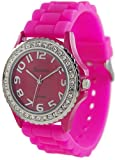 Geneva Platinum Womens 6886.HotPink Pink Rubber Quartz Watch with Pink Dial