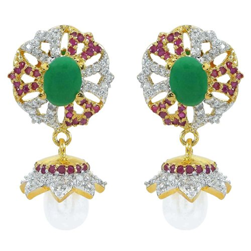 R S Jewels Gold Plated Ruby Emearld Cz Jhumki Earring Jewelry