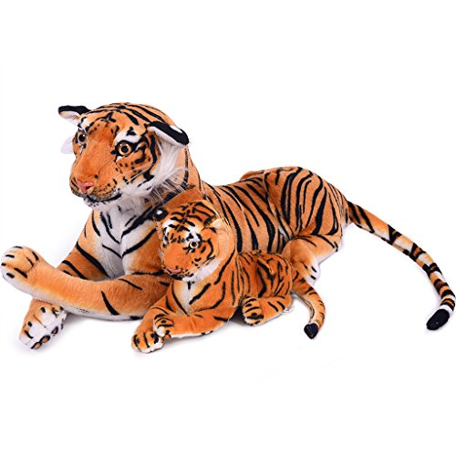 VERCART 27.5 inches Giant Realistic Stuffed Animals Soft Plush Toy Brown Tiger for Kids Birthday Gifts (with A Small Tigger) (How To Draw Winnie The Pooh compare prices)