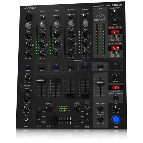 Behringer Djx750 Pro Mixer Professional 5-Channel Dj Mixer With Advanced Digital Effects And Bpm Counter