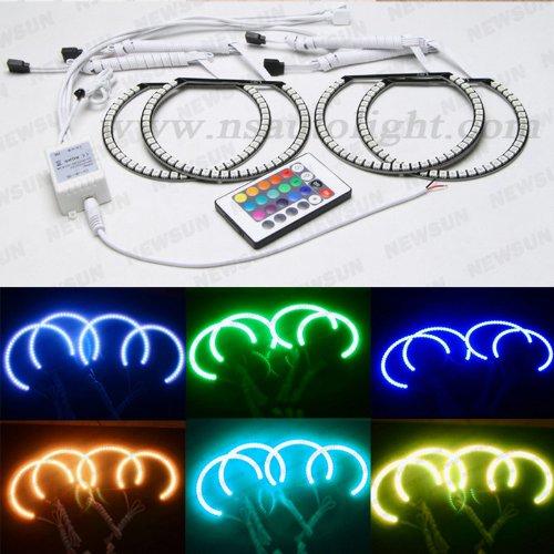 Newsun Semi Circle Bmw E36 E38 E39 E46 3 5 7 Series Xenon Halo Ring Headlight Rgb Multi-Color 5050 Led Angel Eyes Kit