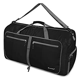 Gonex 80L Foldable Travel Duffle Bag for Luggage, Gym, Sport, Camping, Storage, Shopping Water & Tear Resistant Black