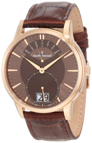 Claude Bernard Men's 34004 37R BRIR Classic Gents Rose Gold PVD Brown Dial Big Day Date Watch