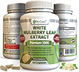 Pure White Mulberry Leaf Extract Premium 1000mg | Natural High & Low Blood Sugar Control & Weight Loss Support Supplement - Fiber Rich, Increases Energy (60 Veggie Capsule Pills of 500mg)