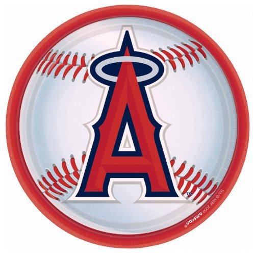 """Amscan LA Angels Anaheim Round Dinner Plates, 9"""""""