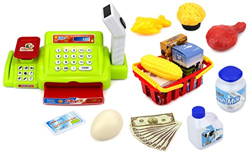 Velocity Toys Happy Little Shopper Pretend Play Battery Operated Toy Cash Register w/ Working Scanner, Mock Scale, Money, Credit Card, Groceries
