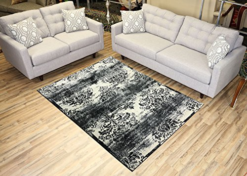 Studio Collection Vintage French Damask Design Contemporary Modern Area Rug Rugs 3 Different Color Options (Damask Ivory / Grey, 5 x 7) (Vintage French Decor compare prices)