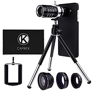 Camera Lens Kit for Samsung Galaxy Note 5 incl. 12x Telephoto Lens, Fisheye Lens, Macro Lens, Wide Angle Lens, Tripod, Phone Holder, Holder Ring, Hard Case, Velvet Bag and Cleaning Cloth