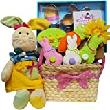 Art of Appreciation Gift Baskets Cottontails Cookie Collection Easter Basket with Plush Bunny Rabbit