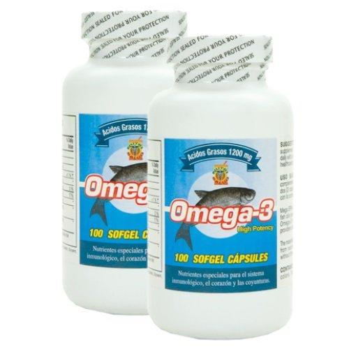 Omega 3 Capsulas de Alta Potencia. Set de 2 frascos con 100 capsulas c/u. Para las arterias, coyunturas, bajar el colestereol malo. Tratamiento para 6 meses. (Capsulas De Omega 3 compare prices)