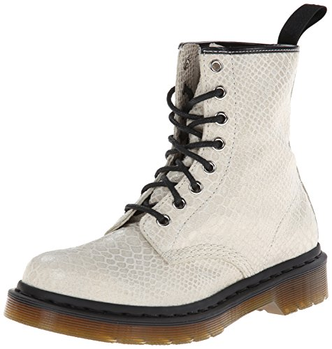 Dr. Martens 1460 Snake High Shine, Stivaletti, Donna, Bianco (White Snake High Shine), 41
