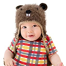 Huggalugs Boys or Girls Bucky Beaver Beanie Hat Small (0-6m)