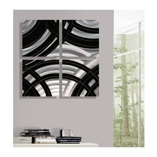 Gridiron Black and Silver Modern Contemporary Wall Art Decor